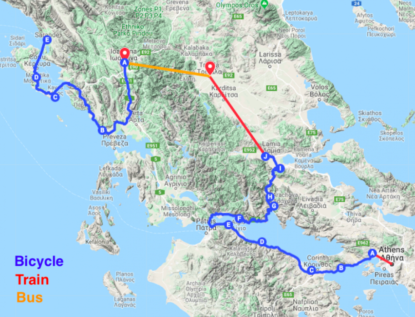 Bicycle Touring In Greece Route