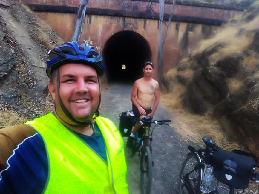 Exiting the Cheviot Tunnel on the Great Victorian Rail Trail