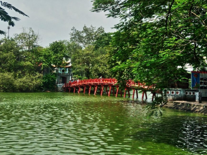 The famous Red Bridge over Hoan Kiem Lake in Hanoi