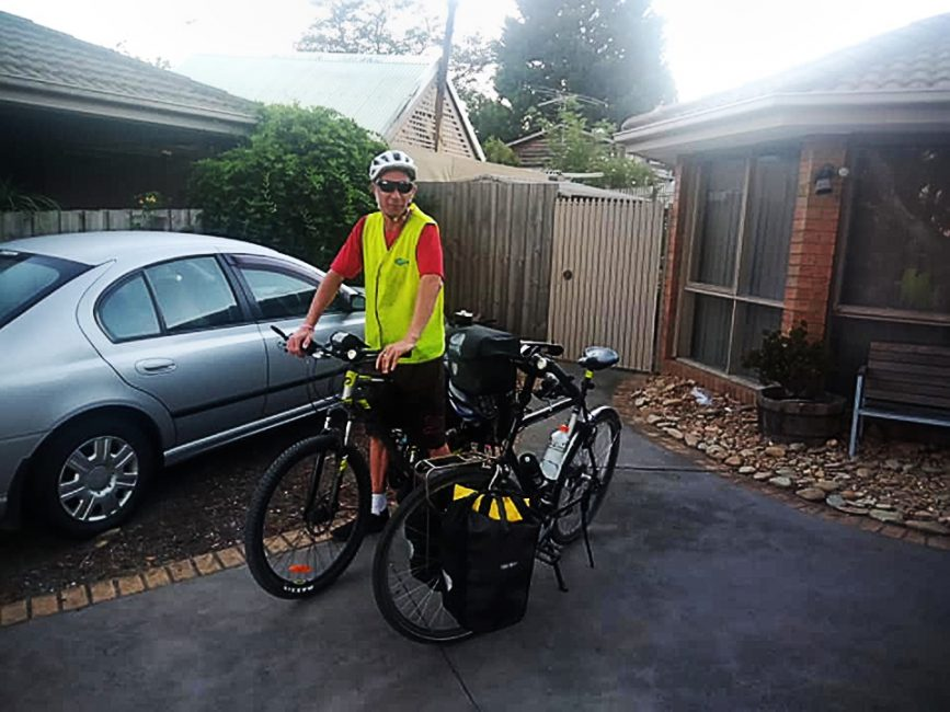 My brother leaving home on his first ever bicycle tour